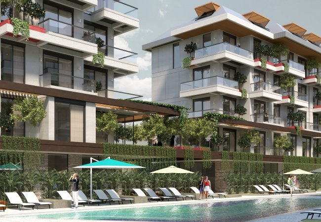 Luxurious Apartments in Alanya Intertwined Within Nature