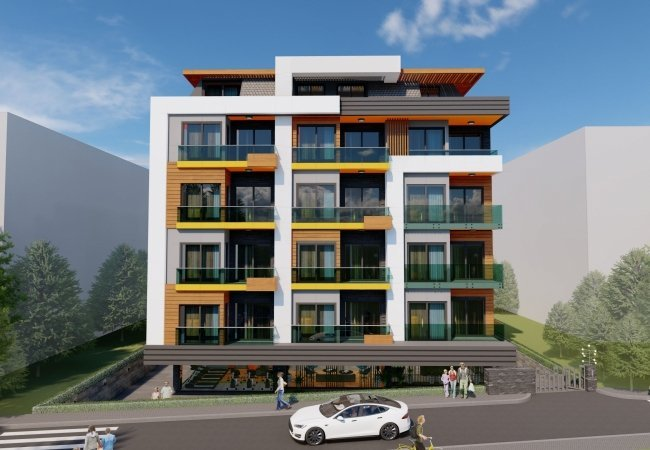 High-ceilinged Apartments Close to All Amenities in Alanya
