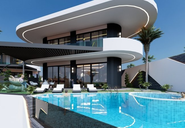 Luxe Villa Suitable for Citizenship with a Pool in Alanya