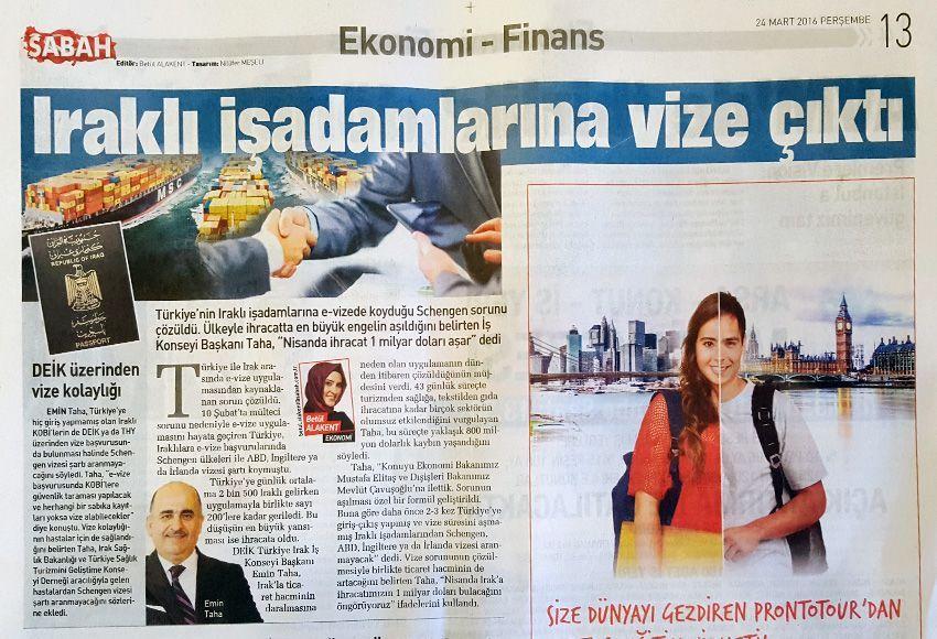 Iraqi Businessmen Get Visa for Turkey Easily
