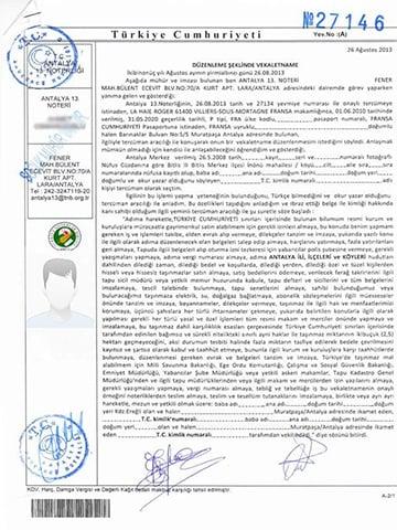 Un Exemple de Document de Procuration